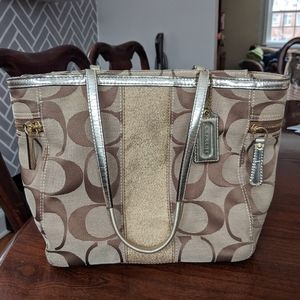 Coach Signature Canvas Tote, gold & pink, used